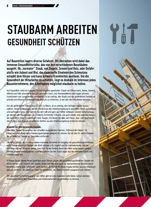 Staubarmes Arbeiten - Gesundheit schützen