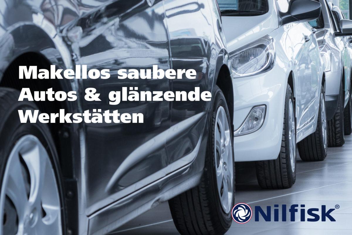 Makellos saubere Autos & glänzende Werkstätten dank Nilfisk Heißwasser Hochdruckreiniger